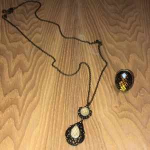 Necklace and statement ring
